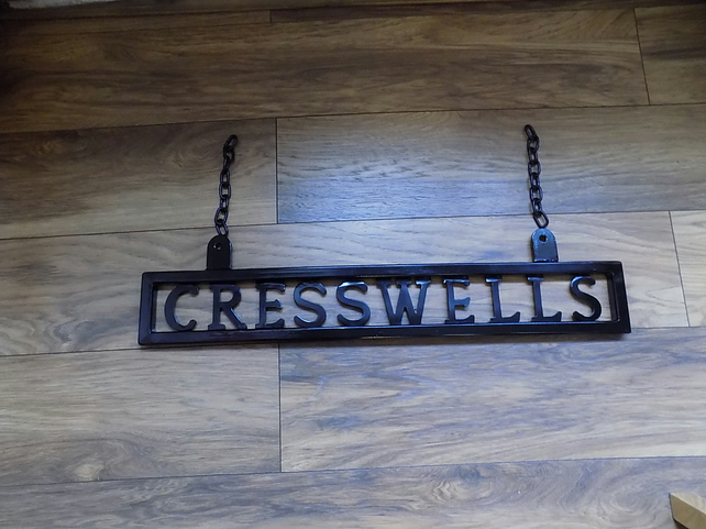 Metal Name Sign...........Wrought Iron (Forged Steel) Hanging .UK Free Post