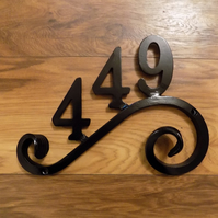 House Number Plaque..UK Free Post....................Wrought Iron (Forged Steel)