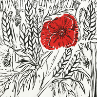 Poppy I - an original handprinted linocut print