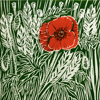 Poppy II - an original handprinted linocut print