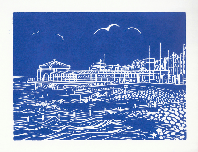 'Worthing Lido' greetings card, from limited edition linocut