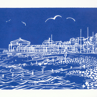 'Worthing Lido' - an original handprinted linocut print