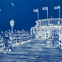 Fishing from the Pier - an original handprinted linocut print