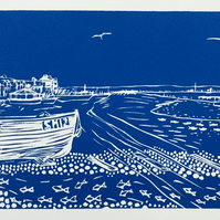 Waiting for the Tide - an original handprinted linocut print