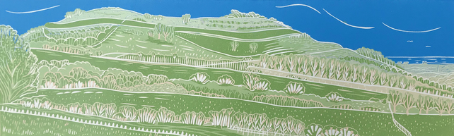 Cissbury Ring- an original handprinted reduction linocut print