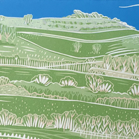 'Cissbury Ring' greetings card, from limited edition linocut