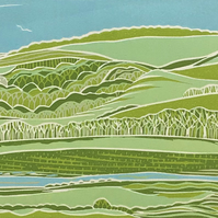 Lancing College and the South Downs - an original reduction linocut print