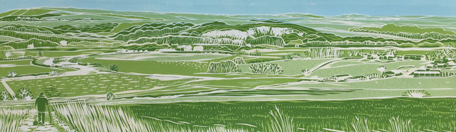 'Walking in West Sussex' greetings card, from limited edition linocut