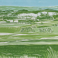 Walking in West Sussex - an original limited edition reduction linocut print