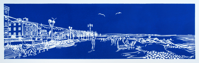 'Splash Point, Worthing' greetings card, from original limited edition linocut
