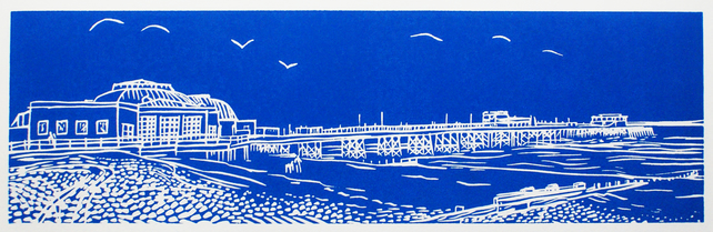 'Worthing Pier' greetings card, from limited edition linocut