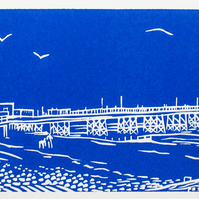Worthing Pier - an original handprinted limited edition linocut print