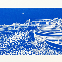Worthing Beach and Fishing Boats - an original limited edition linocut print