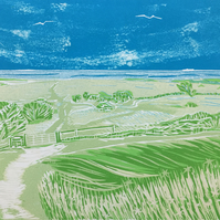 Looking Out to Sea - an original limited edition reduction linocut print