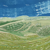 'Steyning Bowl' greetings card, from limited edition reduction linocut