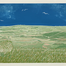 Looking East from Steyning Bowl - an original limited edition reduction linocut