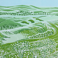 Along the South Downs Way' greetings card, from limited edition linocut