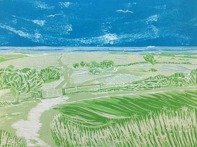 Looking Out to Sea' greetings card, from limited edition linocut