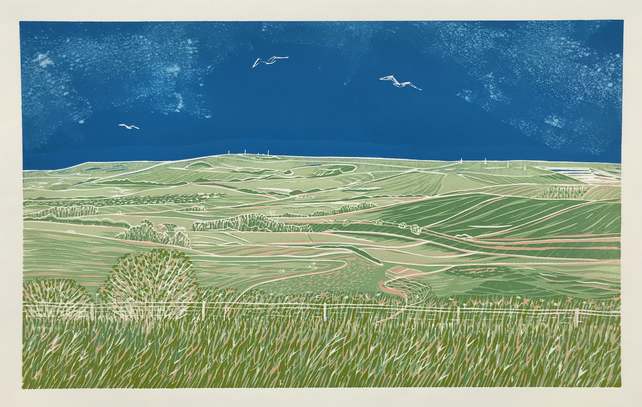 'Looking East from Steyning Bowl' greetings card, from limited edition linocut