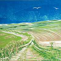 'South Downs' greetings card, from limited edition linocut