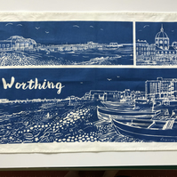 Worthing Tea Towel from limited edition linocut designs