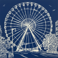 The Worthing Wheel: an original handprinted limited edition linocut print