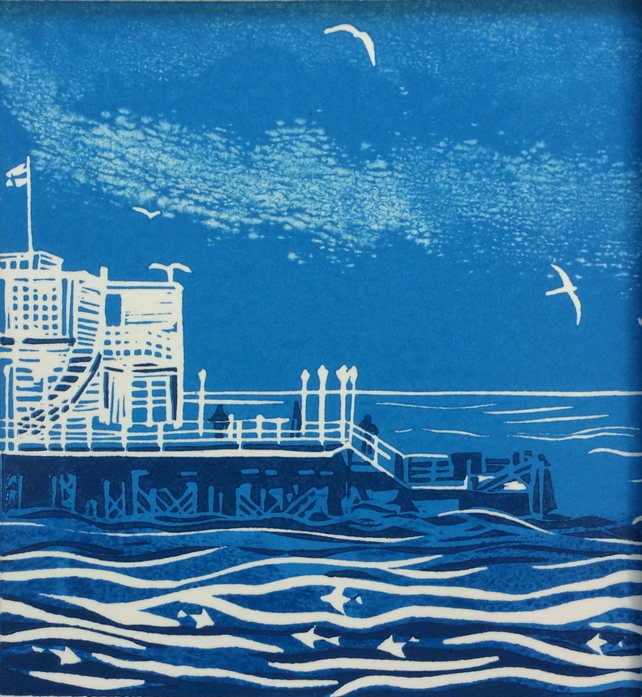 'At the End of the Pier' greetings card, from limited edition linocut