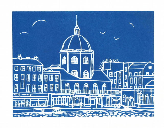'The Dome, Worthing' greetings card, from limited edition linocut
