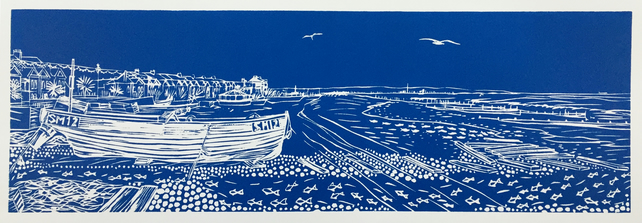 'Waiting for the Tide' greetings card, from limited edition linocut