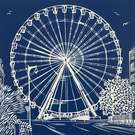 'The Worthing Wheel' greetings card, from limited edition linocut