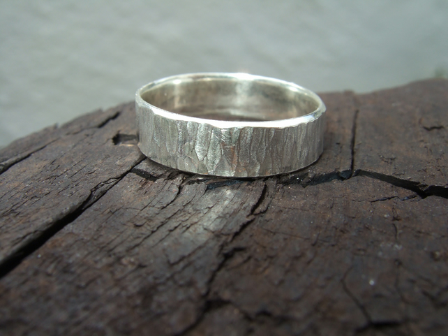 Sterling Silver Tree Bark Ring