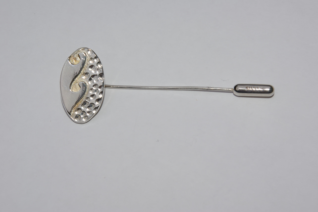 Sterling Silver  Wave Coat Pin