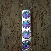 Sterling Silver and Purple & Jade Resin Pendant