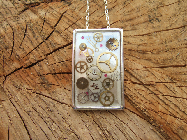 Sterling Silver Pendant with Resin and Cogs