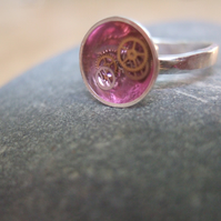 Sterling Silver and Magenta Resin Ring
