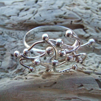 Sterling Silver Wire and Ball Constellation Ring