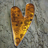 Sterling Silver & Orange Resin Heart with Cogs