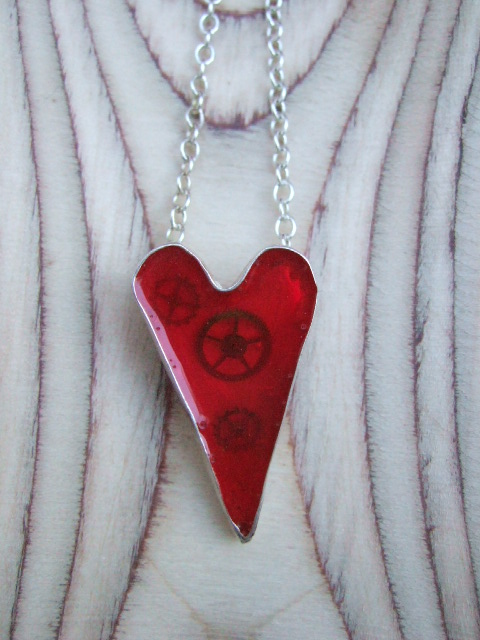 Sterling Silver & Red Resin Heart with Cogs