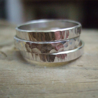 Set of 3 Sterling Silver Tree Bark Thumb Rings