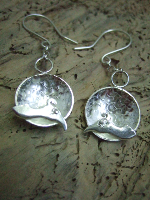 Sterling Silver Dome & Peacock Earrings