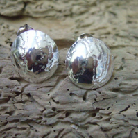 Sterling Silver Lace Print Domed Studs