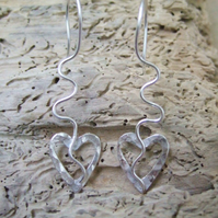 Sterling Silver Heart and Wire Earrings