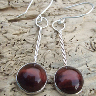 Sterling Silver Barley Twist Earrings with Red Tigers Eye