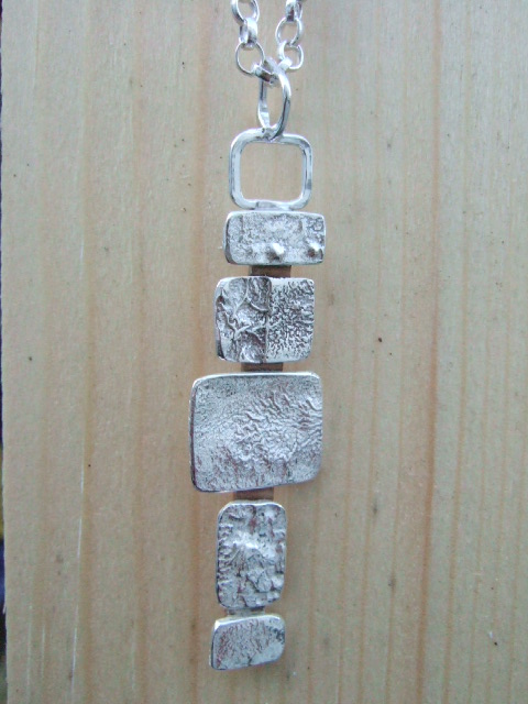 Reticulated Sterling Silver and Bronze Pendant