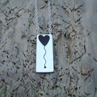 Sterling Silver and Black Resin Heart Balloon