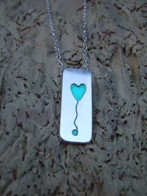Sterling Silver and Jade Resin Heart Balloon Pendant