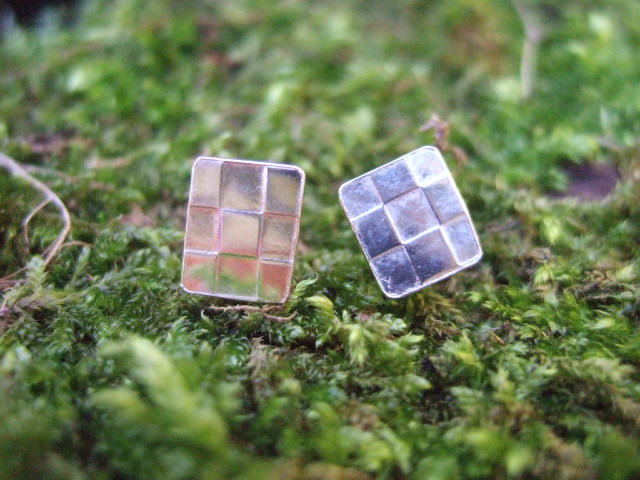 Sterling Silver Checker Plate Studs