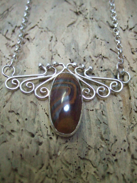Sterling Silver and Tigers Eye Pendant
