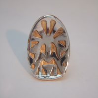 Sterling Silver and Brass Mask Ring