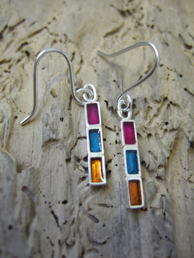 Sterling Silver and Resin Geometric Earrings